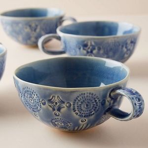 Anthropologie Old Havana Iris Blue Mug